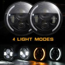2x 7 Zoll Runde LED Scheinwerfer Halo Angle Eyes für Jeep Wrangler JK LJ 97-2018