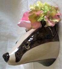 More details for quail ceramic badger head wall pocket or vase - wildlife animal model or figure
