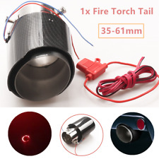 1x Fire Torch Tail 35-61mm Carbon Fiber Look Glossy Car Exhaust Muffler Tip Pipe