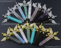 Natural Gemstone Zircon Pave Angel Hexagonal Pointed Reiki Healing Pendant Beads