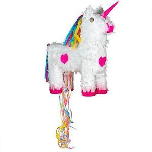 Unicorn Pull String Pinata Game Toy Birthday Party Kids 13cm White