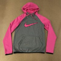 Nike Therma Fit Women's Size XS Pink Gray Long Sleeve Athletic Pullover Hoodie