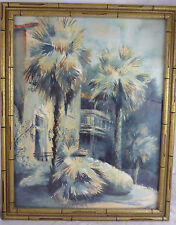 1980 Signed Watercolor Landscape Painting - Faux Bamboo Frame Hollywood Regency