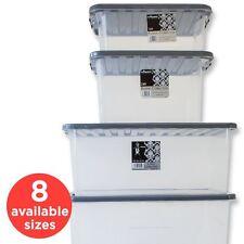 Cajas de almacenamiento de plástico transparente, grandes y pequeñas