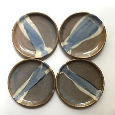 """4 Studio Pottery plates 7 1/2"""" brown and blue signed B Hill Hand Thrown Set1"""