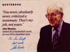 COACH JOHN WOODEN - Photo with His Quotation - SIGNED in Person