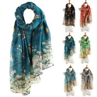Long Floral Elegant NEW Scarf Women Printed Wrap Shawl Bird Warm Scarves