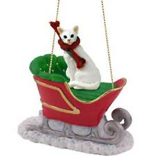 White Oriental Shorthaired Cat Sleigh Ride Ornament