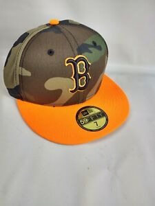 Boston Red Sox New Era MLB 59FIFTY Fitted Hat 7 Camo Orange Bill Hat