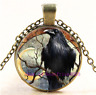 Necklace Black Crow Photo Tibet Silver Cabochon Glass Chain Pendant Necklace