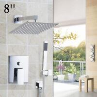 "DK Chrome Bathroom Shower Faucet Set 8"" Rain Shower Head+Hand Spray Square Valve"
