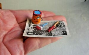 DOLLHOUSE MINIATURE ~ PAINT CAN & TOOLS ~ RETIRED