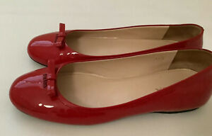 Prada Womens Made In Italy Patent Leather Red Ballet Flats Size 38.5