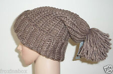 Brown Chunky Knitted One Size Hat Long Slouch Oversized Beanie Pom Pom Bobble