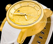 Invicta Mens S1 Yakuza Dragon NH35A Automatic 24J Gold IP SS White Strap Watch !