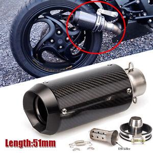 CNC 51mm Motorcycle Carbon Fiber Round Slip-On Ehaust Muffler 38-51mm Adaptors