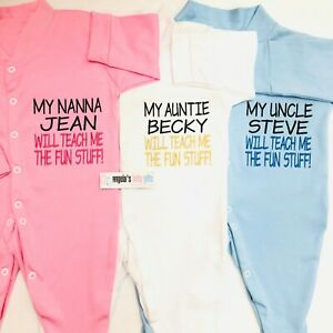 Teach Me The Fun Stuff Personalised Embroidered Baby Grow Funny Gift