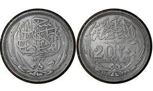 20 Qirsh/ Piastres 1916 Egypt 🇪🇬Sultanate Silver Coin Hussein Kamel # 321