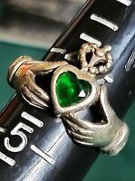Antique Celtic Claddagh Emerald Ring - Size 4.5 Classic .925 Sterling Silver