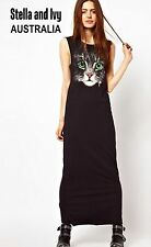BLACK CAT PRINT MAXI BOHO DRESS SIZE 12 AU WOMENS NEW