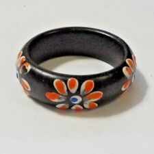 Black Plastic Ring With Painted Orange Flowers - Size 6 1/2