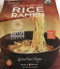 Lotus Foods ORGANIC Rice Ramen Noodles, Millet and Brown Rice 30 oz 12 packs GF