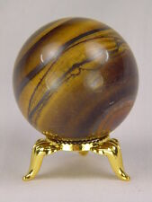 BUTW Golden Tiger eye sphere   44mm lapidary with gold tone stand 4868K
