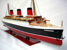 """SS Normandie French Cruise Ship 41"""" Built Ocean Liner Wood Model Assembled"""