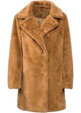 Kuschel-Longjacke aus Fellimitat Gr. 42 Camel Damen-Jacke Mantel Coat Neu