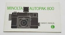 Vtg Minolta Autopak 800 Camera Owners Manual Booklet 24 page Book