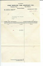 MC-104 - Free Service Tire Company, Johnson City, TN, 1941 billhead, Vintage