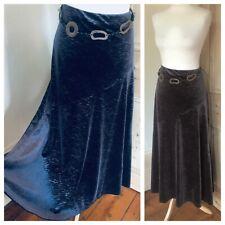 Per Una (M&S) Size 18 UK Swishy Skirt Olive Green flared long Crushed velvet