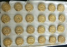 24 Antique NOS Brass Buttons UTS Made in England GAUNT