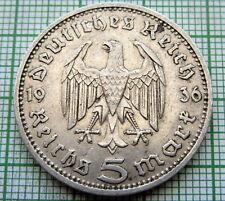 GERMANY THIRD REICH 1936 D 5 REICHSMARK HINDENBURG SILVER PATINA