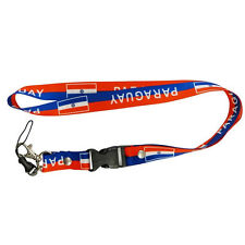 PARAGUAY BLUE RED COUNTRY FLAG LANYARD KEYCHAIN PASSHOLDER ..NEW