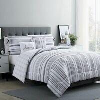 VCNY Home 4-Piece Farmhouse Princeton Reversible Comforter Set Twin/TXL Grey New