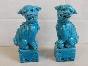 Pair of Turquoise Glazed Ceramic Chinese Fu Dogs Ornaments D3