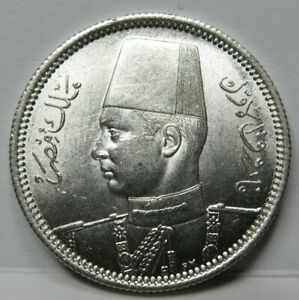 EGYPT 2 piastres 1939 AH 1358 UNC Silver Farouk Scarce #C06