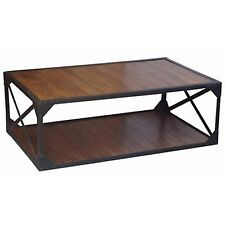 COFFEE TABLE INDUSTRIAL DESIGN 135CM IRON FRAME TV STAND SOLID ACACIA WOOD