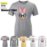 Cute Disney Donald Daisy Duck Pattern Print T-Shirt Womens Girls Graphic Tee Top