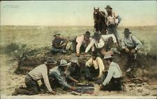 Cowboys Shooting Craps Gambling c1910 Detroit Publishing Postcard