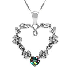 Mystic Fire Topaz Gemstone Heart Flower Sterling Silver Pendant + Chain