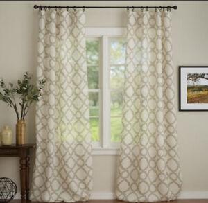 "Pottery Barn 100% Linen Curtain Sheer Set Of 2 Drapes Green/grey 50""W X 96""L"