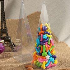 50 Scatola Triangolo Cono Porta confetti Porta Petali In PVC Trasparenti 5*5*16