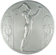 France sports TENNIS PLAYER large silvered-bronze galvano 100mm by Belza RARE