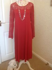 NEXT LACE SLEEVED CHRISTMAS RED SWING MIDI DRESS, Size 12, EXCELLENT CONDITION