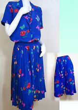 Vintage Retro Alfred Dunner Sapphire Butterfly Pleated Skirt Top Set Dress PS M