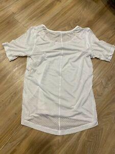 Lululemon White Short Sleeve Semi Sheer Top Shirt 4