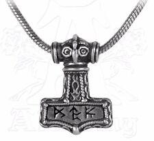 NWT Bindrune Thor's Hammer Mjolnir Pendant Runes Necklace Alchemy Gothic P338