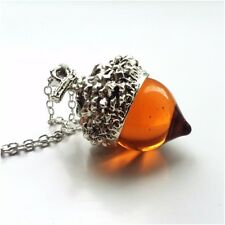 Vintage Amber Acorn Glass Necklace Pendant Silver Oak Autumn Nature Seasonal